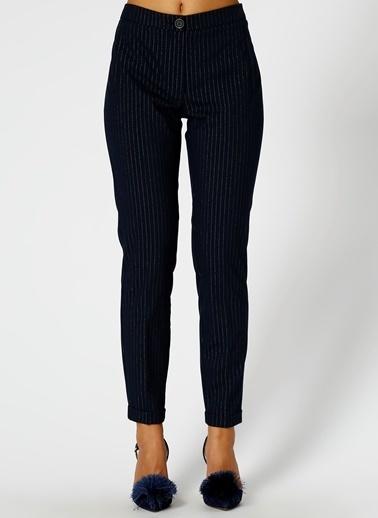 Fabrika Çizgili Pantolon Lacivert